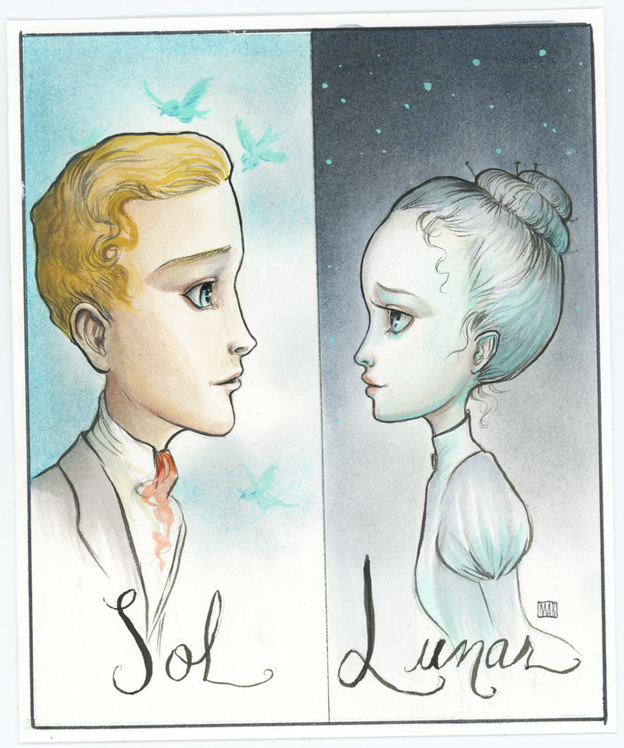 Original illustration of 'Lunar and Sol' by Mab Graves.