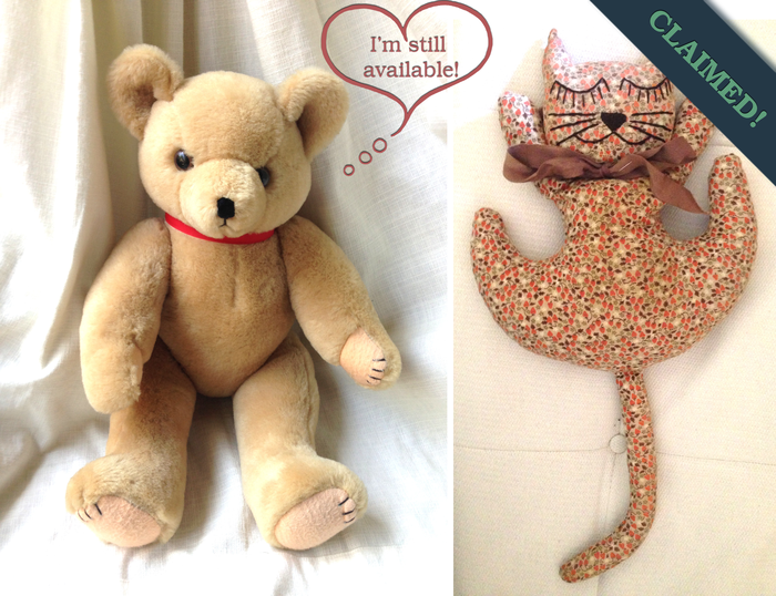 These plush toys, Teddy Bear (left) and Kitty (NOW CLAIMED), were used in the film to dress the sisters' bedroom.