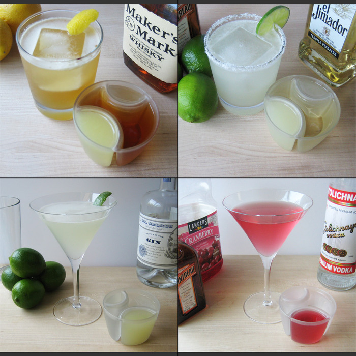ReJiggered Classic Recipes:  Whisky Sour, Margarita, Gimlet, and Cosmopolitan