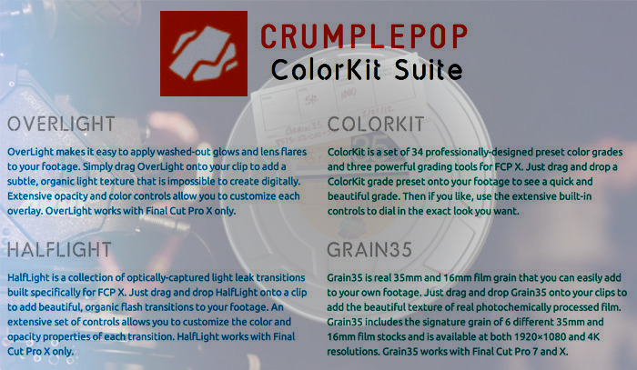 CrumplePop Final Cut Plug-In Set (Part of the $500 workshop package)