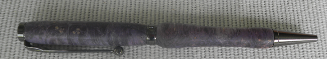 Stabilized Purple Boxelder Burl Wood Pen, with Gun Metal Hardware and a Simple Design ($45).