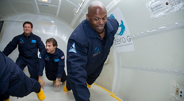 Ken Harvey experiencing the thrill of 'zero g' (micro-gravity) for the first time.