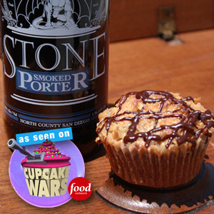 This cupcake is a: Stone Smoked Porter Cupcake, chocolate coffee ganache filling, and caramelized coconut. YUM!