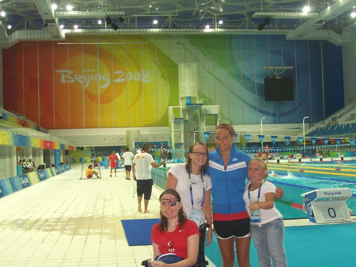 Marin and Paralympic teammates at The Water Cube