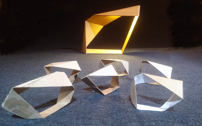 "The ""Loop"" lamp, paper study models"