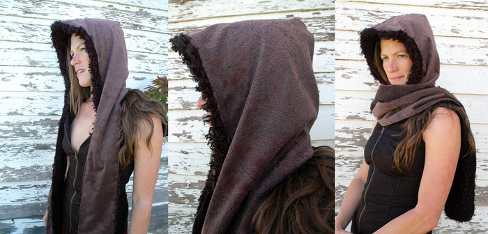 $60- Hood scarf- special dusty rose valore fabric just for kickstarter!!