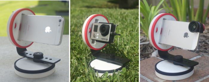 Left: iPhone | Middle: GoPro in landscape mount | Right: iPhone with Ollo Clip (not included)