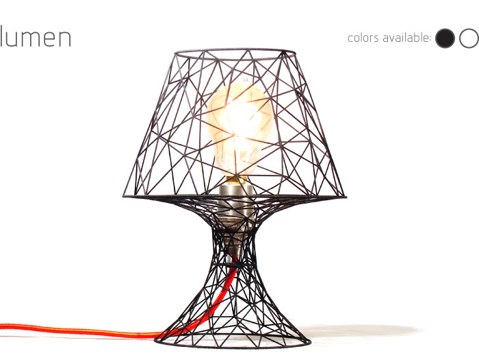 Lumen Lamp: a 3D printed lamp. Includes 'edison' style bulb, 6ft. cord, and inline on/off switch.