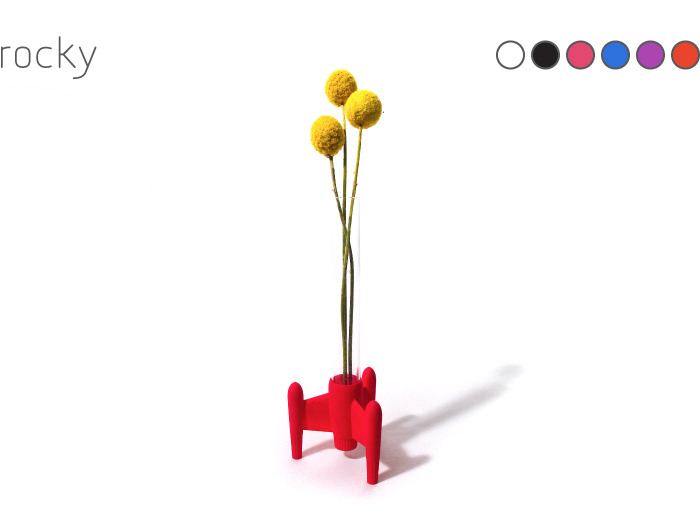 Rocky Flower Vase: 3D printed rocket base and glass tube. Also includes three dried 'billy ball' flowers.