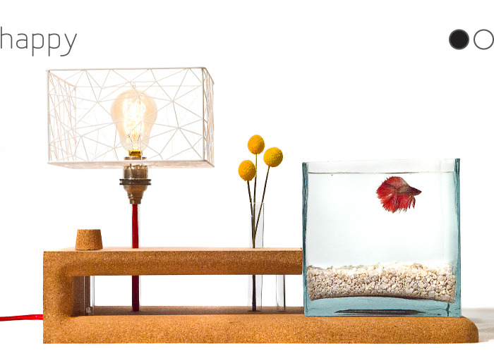 Happy Lamp: Brighten up your desk, bedside, or day. Cork body handmade in the Creator's woodshop. Includes everything but the fish (which don't mail well)