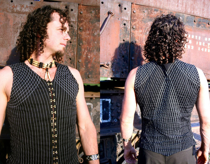 $175~ One of a kind, Fully handmachine stitched MENS vest with geometry hatchings, antique gold (or chrome) hooks running up the length of the front of the vest. Black or Brown with stitch color of your request