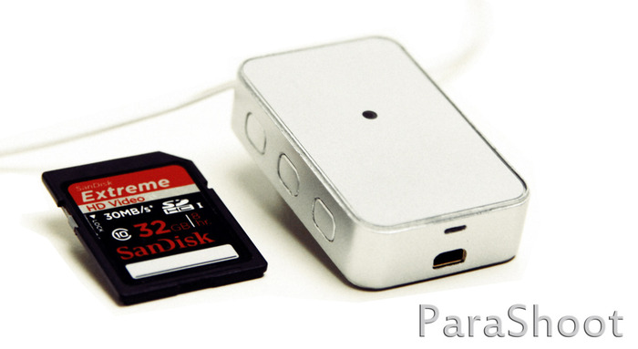 Comparison in size of ParaShoot to an SD card