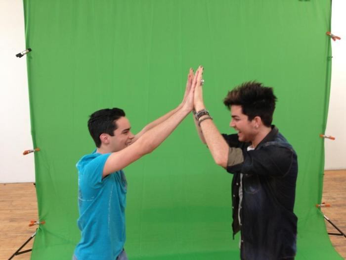 Bullied teen, Joseph Sears, meets his idol Adam Lambert on set of THE NEW F WORD. Click this photo to hear his story.