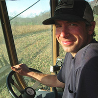 Thor Oechsner, combining some of his organic oats in Enfield, NY
