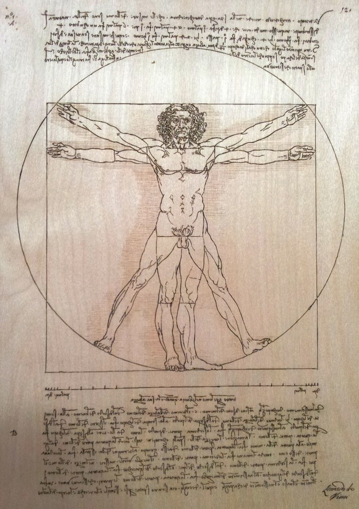 Already engraved made with vector file of The Vitruvian Man