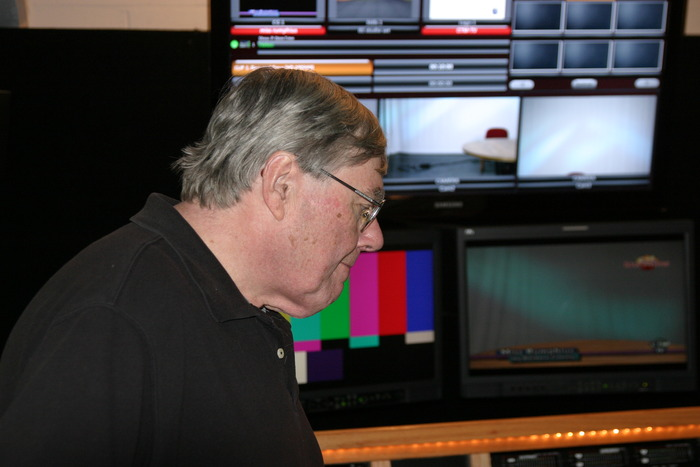 Fred Barzyk in editing room