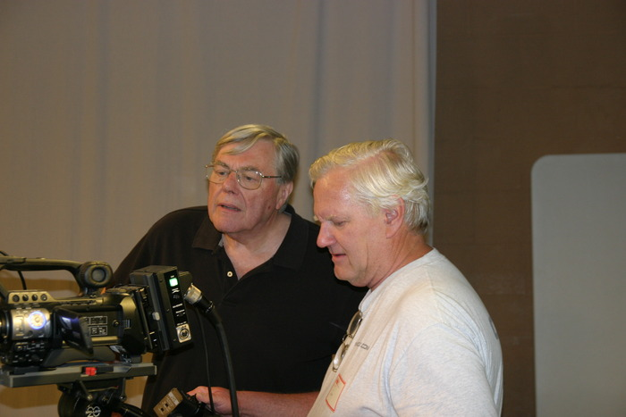 Writer/Director, Fred Barzyk, on left.  Producer, Stephen Mann on right.
