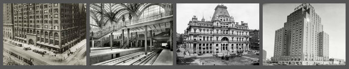 Buildings lost to the wrecking ball: Penn Station, New York - US Post Office, Boston - Biltmore Hotel, Oklahoma City - Stock Exchange Building, Chicago