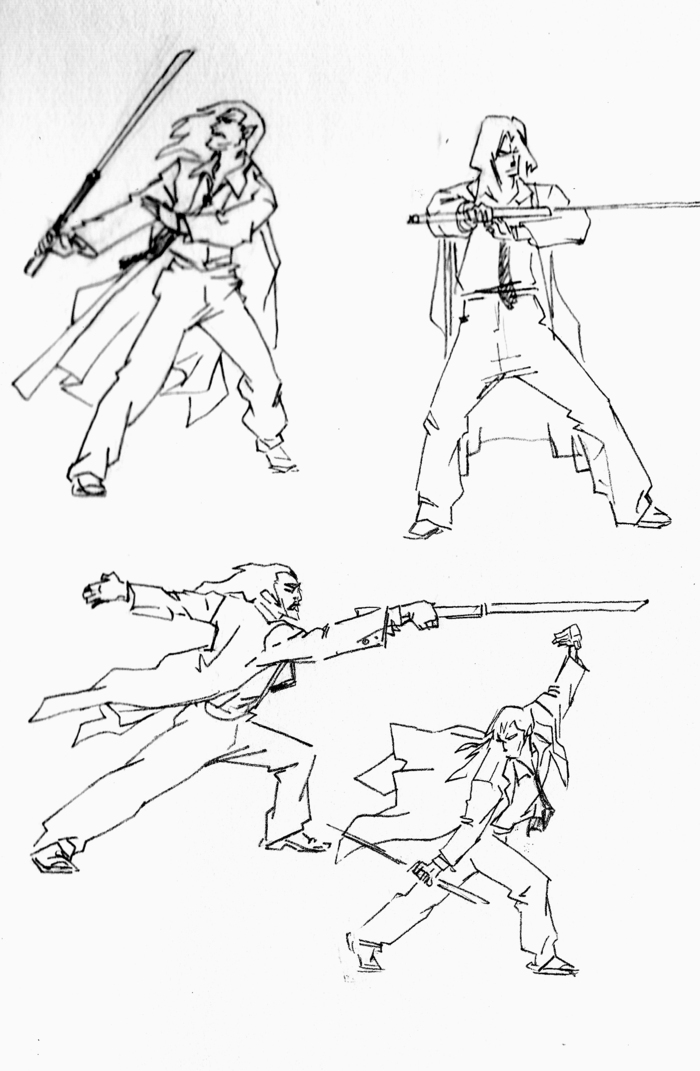 Sketches for sword techniques