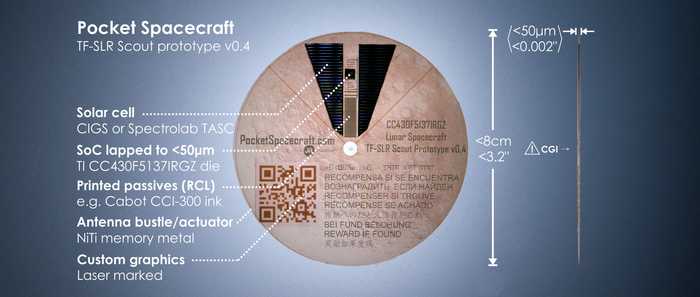 Photograph of a Pocket Spacecraft: Thin-Film Scout prototype consisting of a polyimide substrate, bonded solar cells and thinned die, printed passive components, antennas and images.
