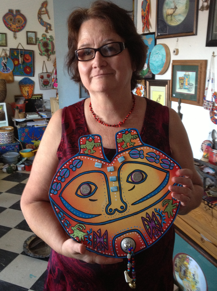 "Wood mixed-media art piece titled ""She Who Watches."" By Jan Whitefoot (community organizer of documentary project)."