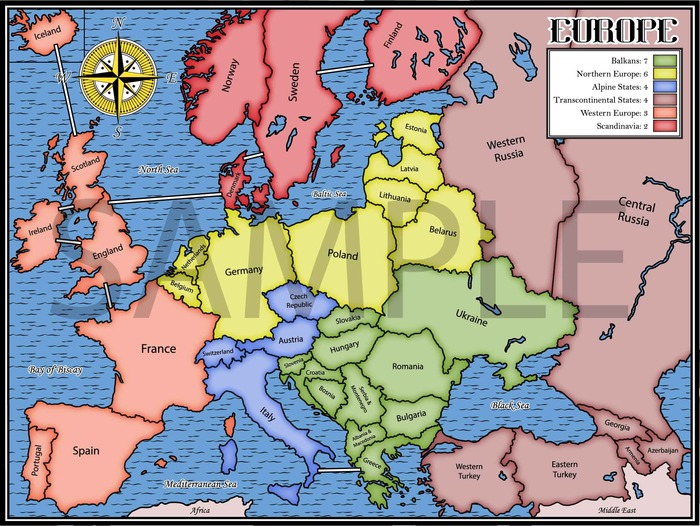 Europe (Engraved and Classic Board Style Available)