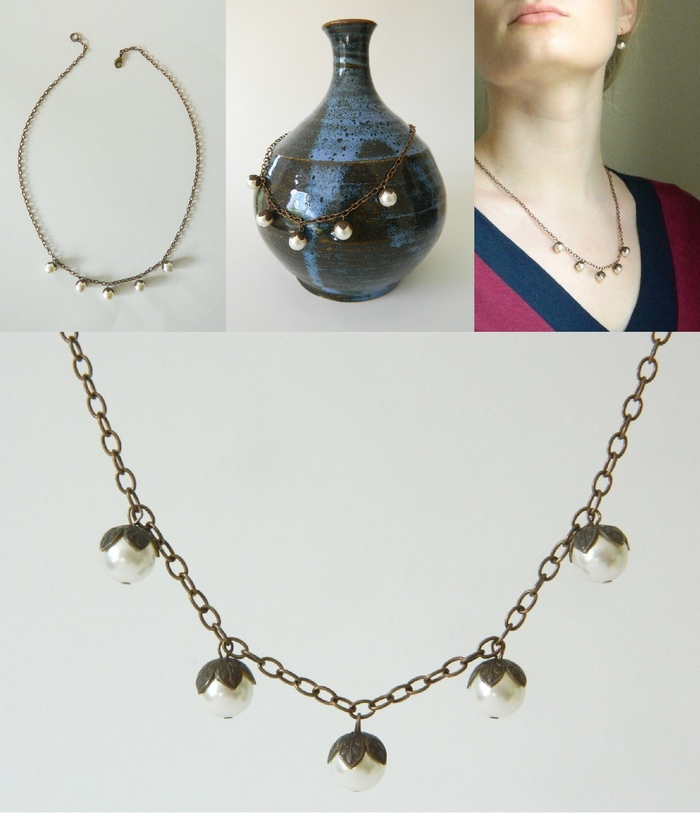 Pearlberry Necklace (pottery by David Westfall)