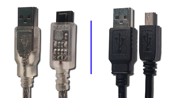 Old custom cable(on left) / New standard USB cable (on right)