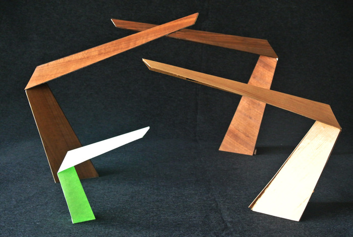 "The ""Arrow"" lamp, paper and wood study models"