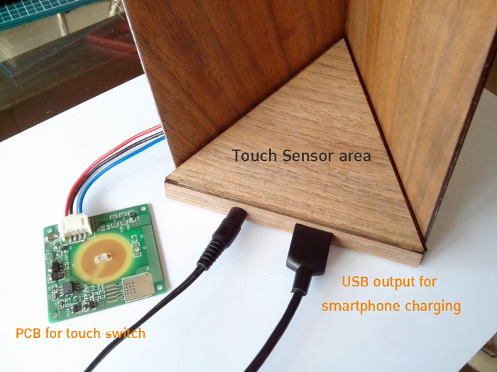 "The ""Arrow"" lamp with lamp base attached with high power magnet and use as On/Off switch and USB. smartphone charger."