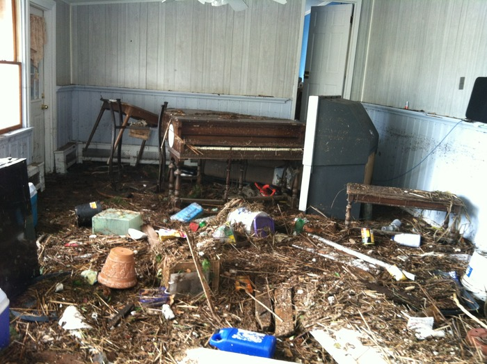 Living room of developer, Matt Pappalardo's home following Hurricane Sandy.