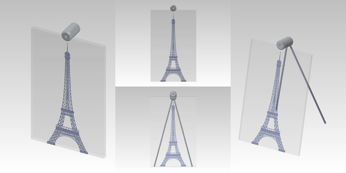 "Size: 7"" x 11"" x 2"". An engraved Eiffel Tower design on the front of the glass with painted accents."
