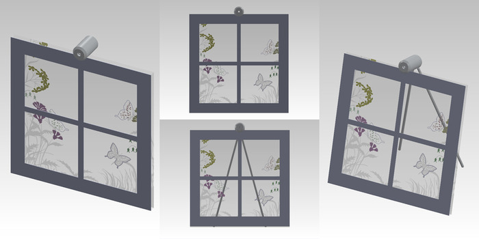 "Size: 10"" X 10"" X 2"". An engraved scene on the front of the glass with various painted accents.  A cut piece of line-grained aluminum creates the window."