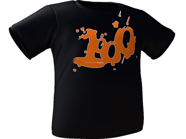 A black t-shirt with the 1000 logo in both men's and women's cuts. (This is a 3D mockup and is not a finalized photo)