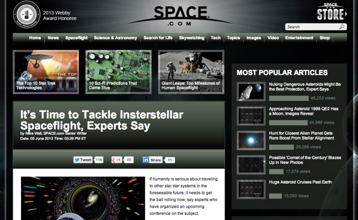 FRONT PAGE NEWS—Starship Congress makes it to Space(dotcom)!