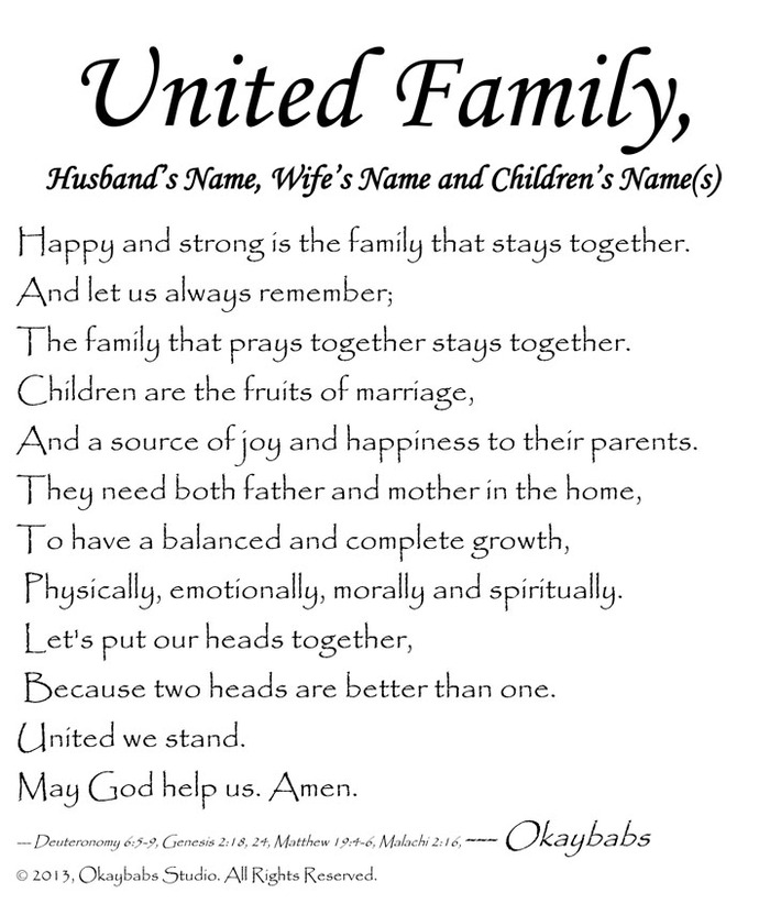 """UNITED family"" husband's name & wife's name with children's names & family photos - personalized poem"