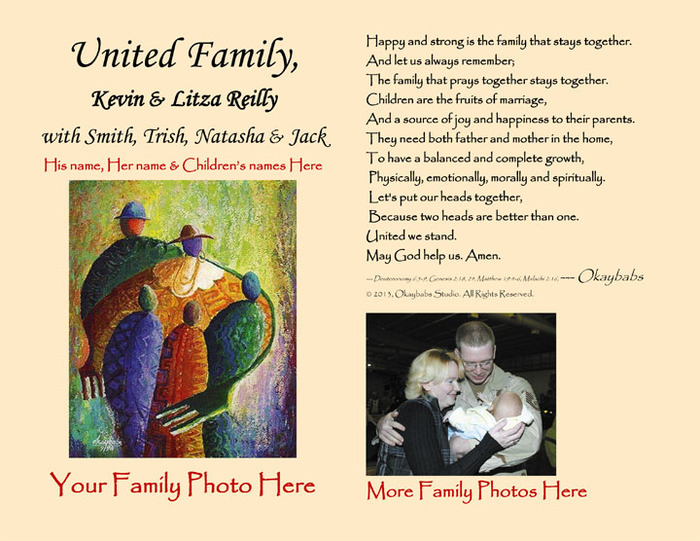"""UNITED family"" husband's name & wife's name with children's names & family photos - personalized poem ."
