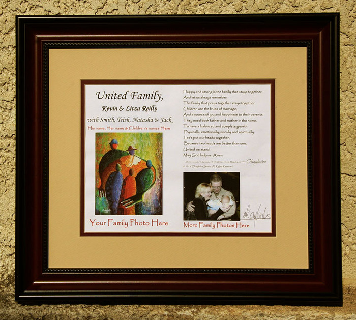 "FRAMED ""united family"" husband's name & wife's name with children's names & family photos - personalized poem - 15""x17"" finished size."