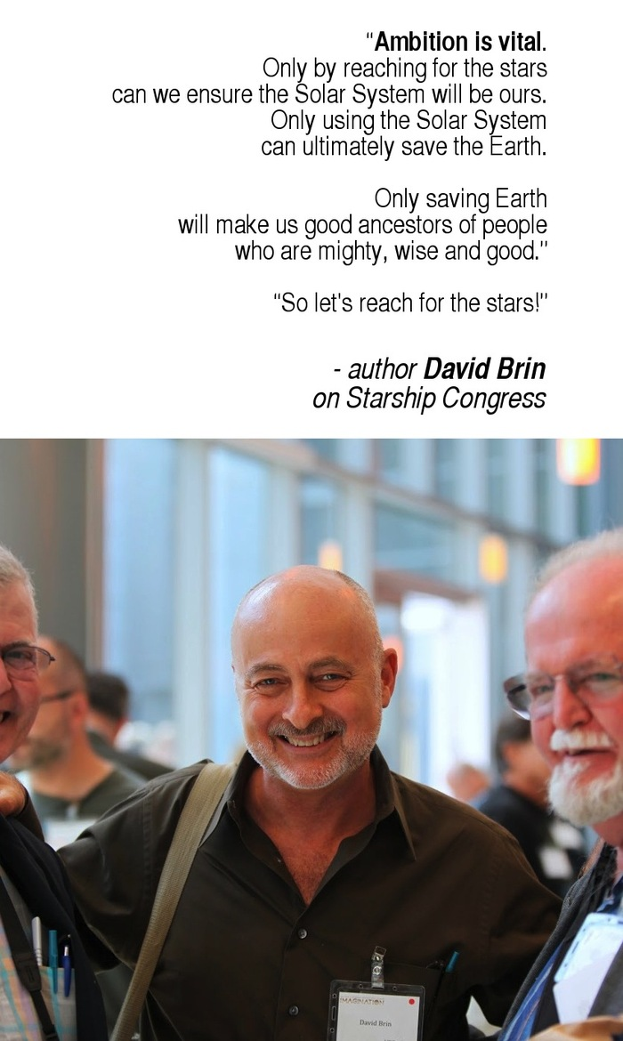 pictured: David Brin, sci-fi god, flanked by David G. Hartwell and Larry Niven (David's left) at recent UCSD Starship Century conference. [photo-Paul Pomes]