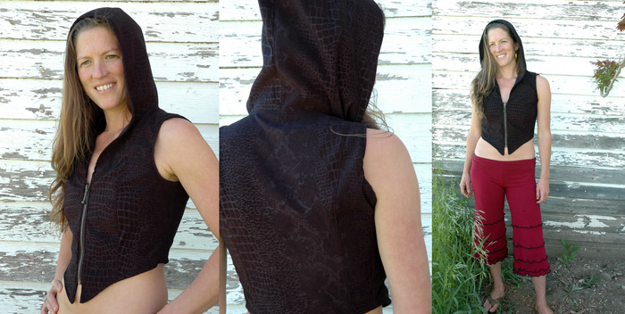 $110~ SPECIAL KICKSTARTER Womens Short Hooded Vest with Ykk zip, oversize hood, short contour, made with a special high end soft moleskin fabric with a subtle snakeskin imprint into the fabric.