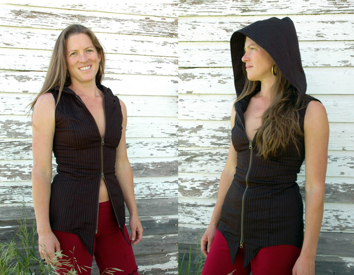 $125~ Pachas WOMENS pin stripe hooded vest>> with unique contour to follow the curves of a womens body. Comes with a double YKK zip.  Made of a stretch cotton twill.. pin stripe in black with white