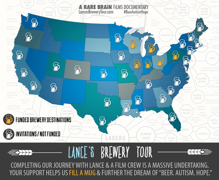 Lance's Brewery Tour state invitation & funding map