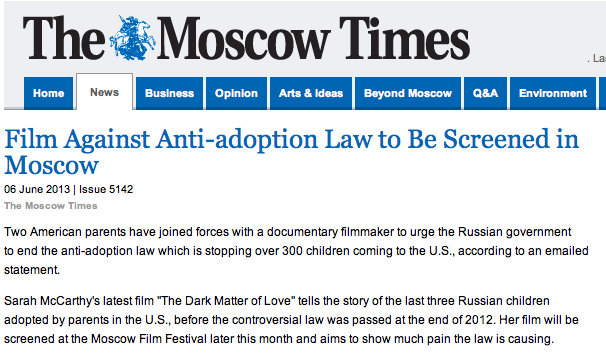 Moscow Times Feature on our Campaign