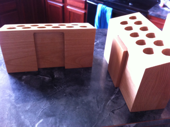 "Our first prototype! Check out the dovetail joints that ""connected"" the blocks together."