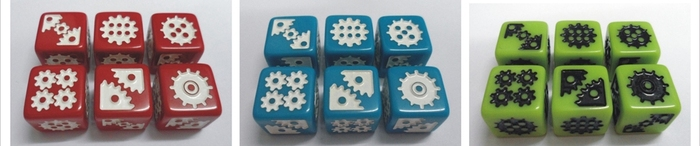 "Custom dice samples to show all 6 sides of the dice. There are 4 custom dice per player in 6 colors in EVERY copy of Euphoria. 24 extra custom dice are included in the Kickstarter-only ""Supreme"" copies of the game."