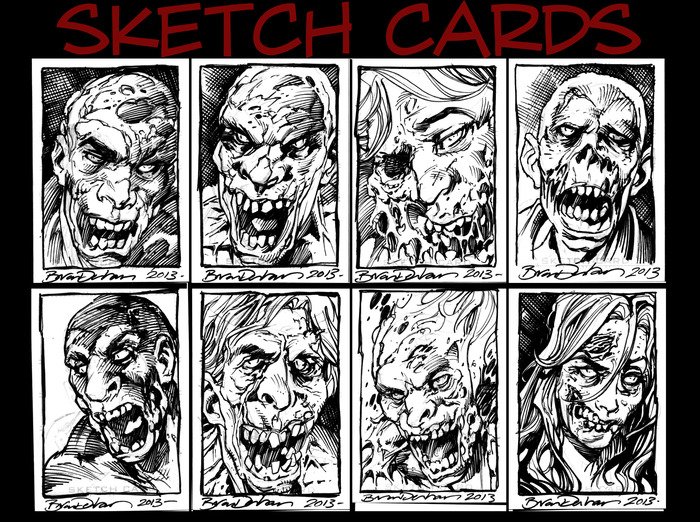 Completed Sketch Cards. One of these may be yours!