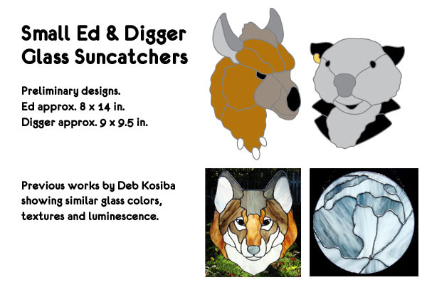 Limited edition Digger and Ed stained glass suncatchers.