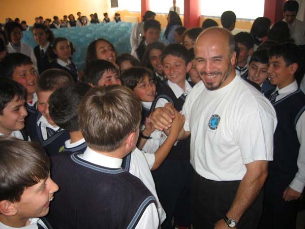 Erden Eruç during a school visit in Eskisehir in Turkey
