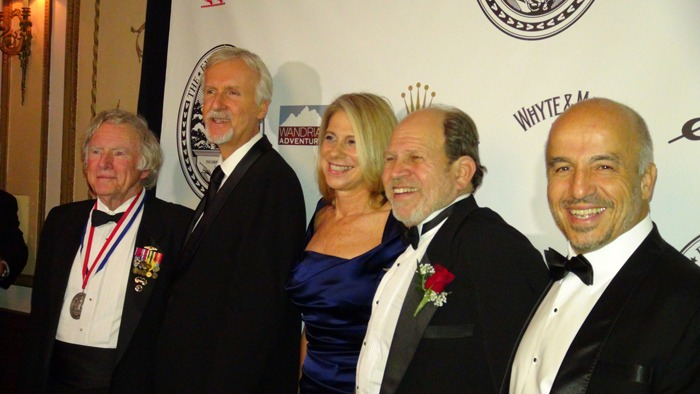 Honor roll at the 2013 Explorers Club Annual Dinner - Don Walsh, James Cameron, Constance Difede, Christos Nicola, Erden Eruç