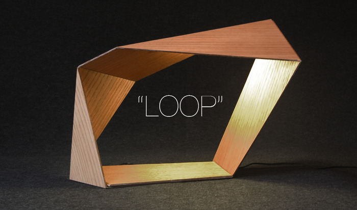 "The ""Loop"" Bedside LED lamp with smartphone charger. (Oak veneer)"